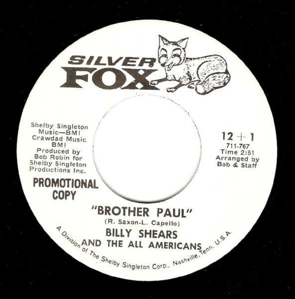 BILLY SHEARS Brother Paul Vinyl Record 7 Inch US Silver Fox 1969 Promo